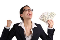 Businesswoman holding earnings Royalty Free Stock Photos