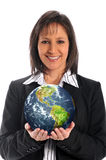 Businesswoman holding the earth Royalty Free Stock Photos