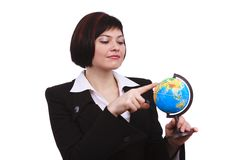 Businesswoman holding Earth globe on a hand Stock Images