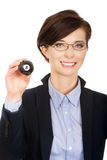 Businesswoman holding eight billiard ball. Businesswoman in glasses holding eight billiard ball Royalty Free Stock Images