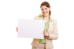 Businesswoman holding empty Royalty Free Stock Image