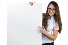 Businesswoman holding empty banner Royalty Free Stock Image