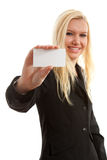 Businesswoman is holding empty card Stock Image