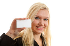 Businesswoman is holding empty card Stock Images