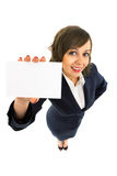 Businesswoman holding empty card Royalty Free Stock Images