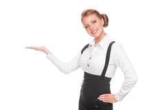 Businesswoman holding empty copyspace Royalty Free Stock Image