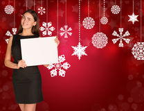 Businesswoman holding empty paper. Christmas Royalty Free Stock Images