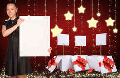 Businesswoman holding empty paper and christmas Stock Photo
