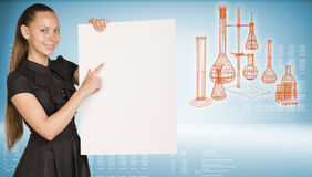 Businesswoman holding empty paper sheet. Royalty Free Stock Photo