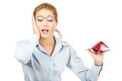 Businesswoman holding empty purse. Stock Photos