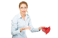 Businesswoman holding empty purse. Stock Photo