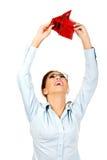 Businesswoman holding empty purse. Royalty Free Stock Photo