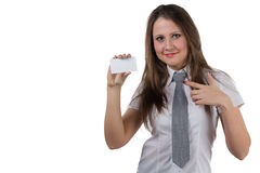 Businesswoman holding enmpty visit card Stock Photos