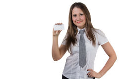 Businesswoman holding enmpty visit card Stock Images