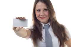 Businesswoman holding enmpty visit card Royalty Free Stock Images