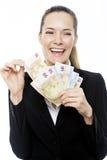 Businesswoman holding euro bills Stock Photos