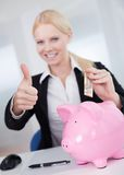 Businesswoman holding euro currency Royalty Free Stock Photos