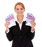 Businesswoman holding 2500 Euro Royalty Free Stock Photos