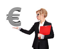 Businesswoman holding euro Royalty Free Stock Images