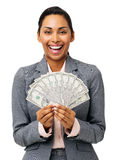 Businesswoman Holding Fanned Out Fifty Dollar Notes Royalty Free Stock Image