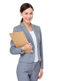Businesswoman holding with file board Stock Photography