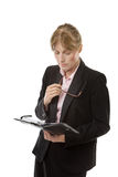 Businesswoman holding a filofax Stock Photography
