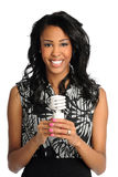 Businesswoman Holding Fluorescent Bulb Royalty Free Stock Image