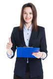 Businesswoman holding folder. Beautiful businesswoman holding blue folder with thumb up sign isolated on white background stock image