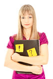 Businesswoman holding a folder with sticky Royalty Free Stock Photography