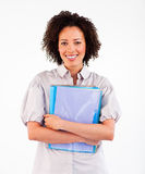 Businesswoman holding folders Stock Photos