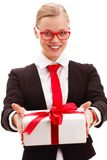 Businesswoman holding giftbox Stock Photography
