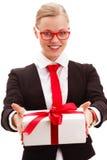 Businesswoman holding giftbox Stock Photography