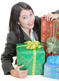 Businesswoman holding gifts Royalty Free Stock Photo