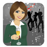 Businesswoman holding glass of champagne on disco party Stock Image