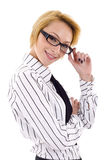 Businesswoman holding glasses Royalty Free Stock Photos