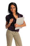 Businesswoman Holding Glasses and Folder Stock Image
