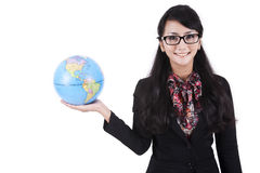 Businesswoman holding a globe Royalty Free Stock Image