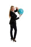 Businesswoman holding globe in hand. Isolated photoin studio Stock Images
