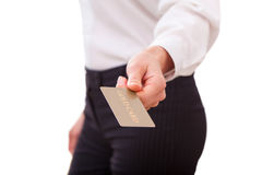 Businesswoman holding a gold card Royalty Free Stock Photography