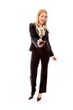 Businesswoman holding a golden trophy Royalty Free Stock Photo