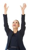 Businesswoman holding hands up Royalty Free Stock Photos