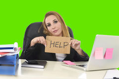 Businesswoman holding help sign working desparate in stress isolated green chroma key Royalty Free Stock Photos