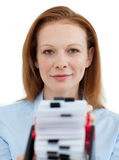 Businesswoman holding her business card holder Royalty Free Stock Image