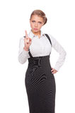 Businesswoman holding her finger up Stock Photo