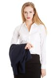 Businesswoman holding her jacket Royalty Free Stock Photos