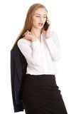 Businesswoman holding her jacket Royalty Free Stock Images
