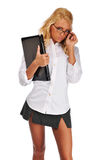 Businesswoman holding her laptop Royalty Free Stock Images