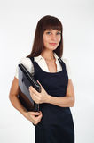 Businesswoman holding her laptop Royalty Free Stock Photos