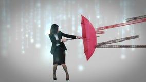 Businesswoman holding her umbrella royalty free illustration