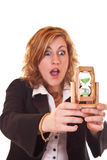 Businesswoman holding hourglass Stock Photo
